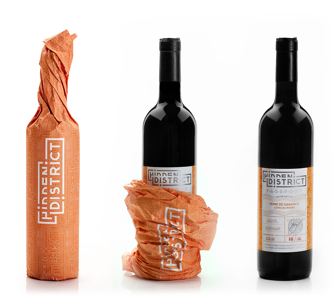 Hidden District, branding, packaging, vino, papelería